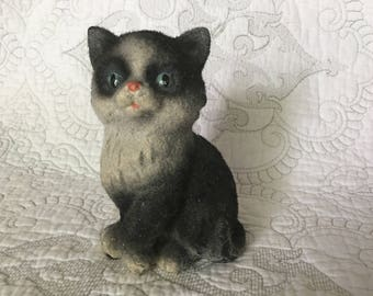 Vintage Fuzzy Black and White Ceramic Cat Figurine - Blue eyes Pink nose - Furry Kitten
