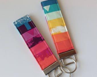 wristlet Key fob keychain fob wristlets key fob key ring women's girls accessories teachers gift rainbow designer fabric