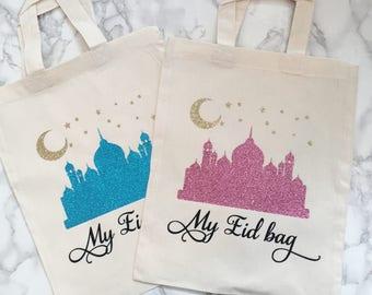 My eid bag, Ramadan bag, storage bag, salah, prayers, dua, storage, totebag,glitter, eid gifts