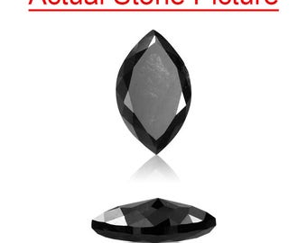 0.99 Cts of 8.75x5.30x2.80 mm GIA Certified AAA Marquise Modified Brilliant ( 1 pc ) Loose Natural Fancy Black Diamond