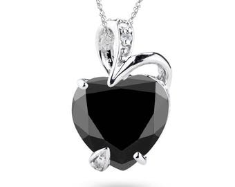 2.15-2.35 Ct Black Diamond & 0.03 Ct White Diamond Heart Pendant in 14K White Gold