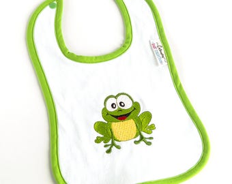 Baby BIB with a green frog embroidered - Perfect gift for a baby shower - Baby boy & baby girl BIB - Triple layer BIB