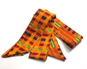 Orange & Yellow Kente Head Tie - Ghana Skinny Scarf - Head Tie scarf - Festival Scarf - Afrocentric - Made in North Carolina by Refugees