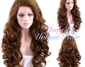 Long Curly Brown Lace Front Synthetic Wig Heat Resistant