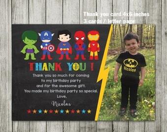 Super hero thank you card - Superhero thank you card - superhero invitation