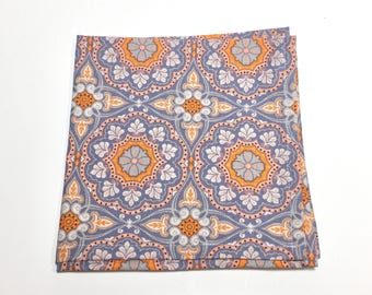 Mens Pocket Square, Orange floral Pattern, wedding accessory, mens handkerchief, Suit Accessory, floral Design, Holiday Gift, menswear gift