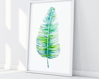 Banana Leaf Print, Tropical Leaf Print, Palm Leaf Print, Botanical Print, Tropical Leaves, Monstera, Leaf Wall Print Art Botanical Art