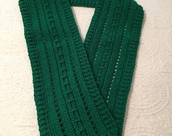 Scarf Dark Green Crocheted