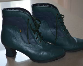 Code FOREVER15: 15% Vintage ankle boots leather doubees green/Navy 39