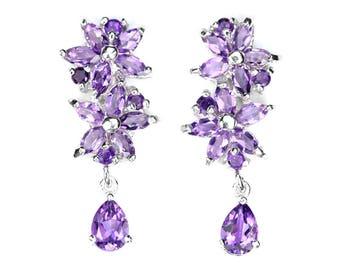 Amethyst Earrings - Purple Flower Earrings - Summer Silver Earrings - Purple Gemstone- February Birthstone - Birthday Gift - Wedding Jewelry