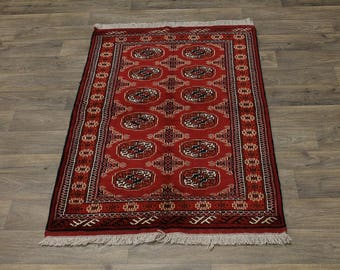 Great Shape Handmade Tribal Turkoman Persian Area Rug Oriental Carpet 3'4X6'5