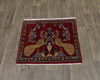 Unique Birds Design Handmade Small Kashan Persian Rug Oriental Area Carpet 3X3