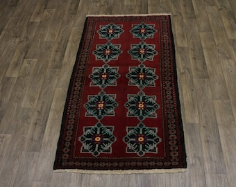 Charming Unique Vintage Tribal Balouch Persian Wool Rug Oriental Area Carpet 4X7