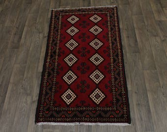 Lovely Hand Knotted Tribal Balouch Persian Rug Oriental Area Carpet Sale 3X6