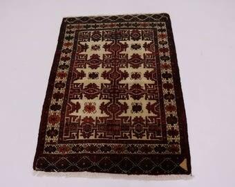 Lovely Small Size Handmade Tribal Balouch Persian Rug Oriental Area Carpet 3X4