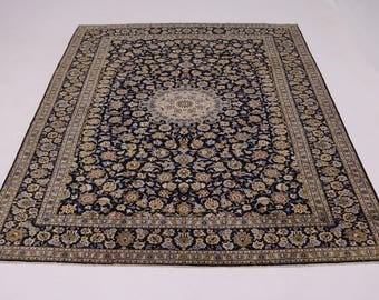 Fascinating Classic Handmade Navy Kashan Persian Rug Oriental Area Carpet 10X13