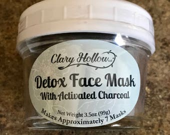 Face Mask - Charcoal Mask - Bentonite Clay - Facial - Natural Skincare - Detox Mask - Activated Charcoal