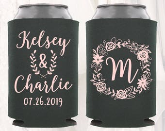 Personalized Wedding Can Cooler   Floral Wedding Can Cooler   Wedding Favors, Beverage Insulators, Beer Huggers   Gift for Wedding Guests