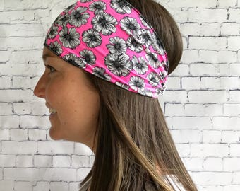 Pink sports head band with fleue, black and white headband, accessory woman