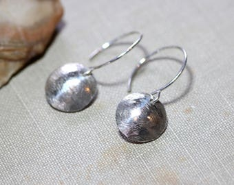 Sterling Silver Earrings Hammered Silver Rustic Jewelry Textured Round Disk
