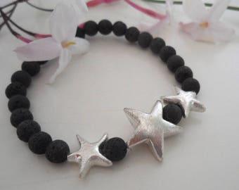 Bracelet Lava and Silver Stars