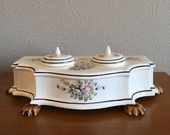 Vintage Porcelain Ink Well with Floral Decoration and Claw Feet- Andrea by Sadek Porcelain Desk Set