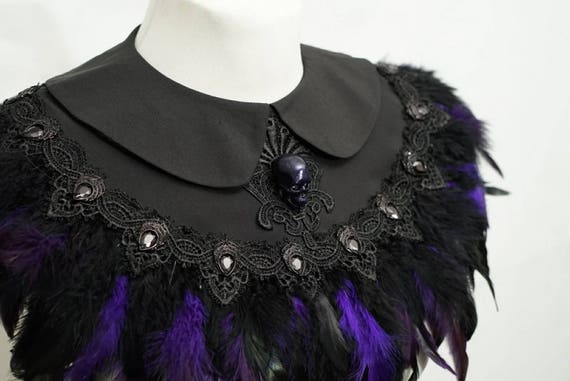 Skull purple feather black cape, Cape with purple feathers and resin skull and cabochons