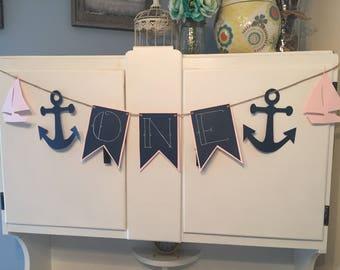 Sailor First Birthday Banner- Girl, Little Girl First Birthday Banner, Sailor Banner, First Birthday Banner, One banner, Anchor Banner
