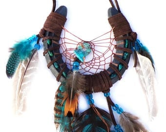 Cowboy Horseshoe Dream Catcher / Painted Feathers / Handmade / Real Turquoise Stones / OOAK / Western Wall Hanging / Country Style