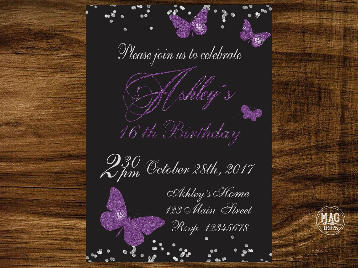 Butterfly birthday invitation, Butterfly invitations, Butterfly ...