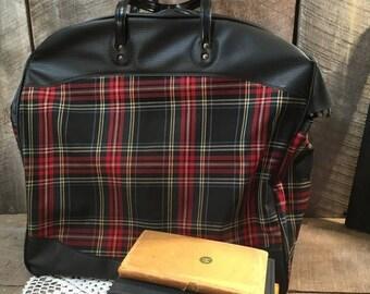 On Sale Vintage plaid tote bag, travel bag, bag, carry on, suitcase, purse, storage, decor,
