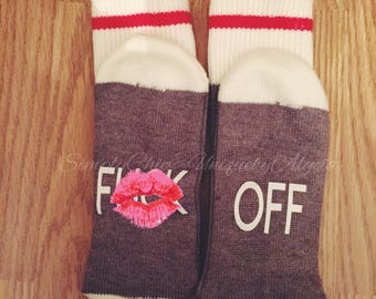 F off socks, If you can read this F off socks, funny cozy socks, explicit clothing, adults only, mom dad present, ladies and men soc