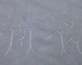 Beautiful antique French linen monogrammed trousseau or dowry sheet MR