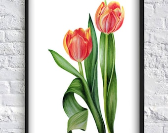 Watercolor tulip print flower print red tulip print flower wall art decor flower bouquet print poster red green gift idea