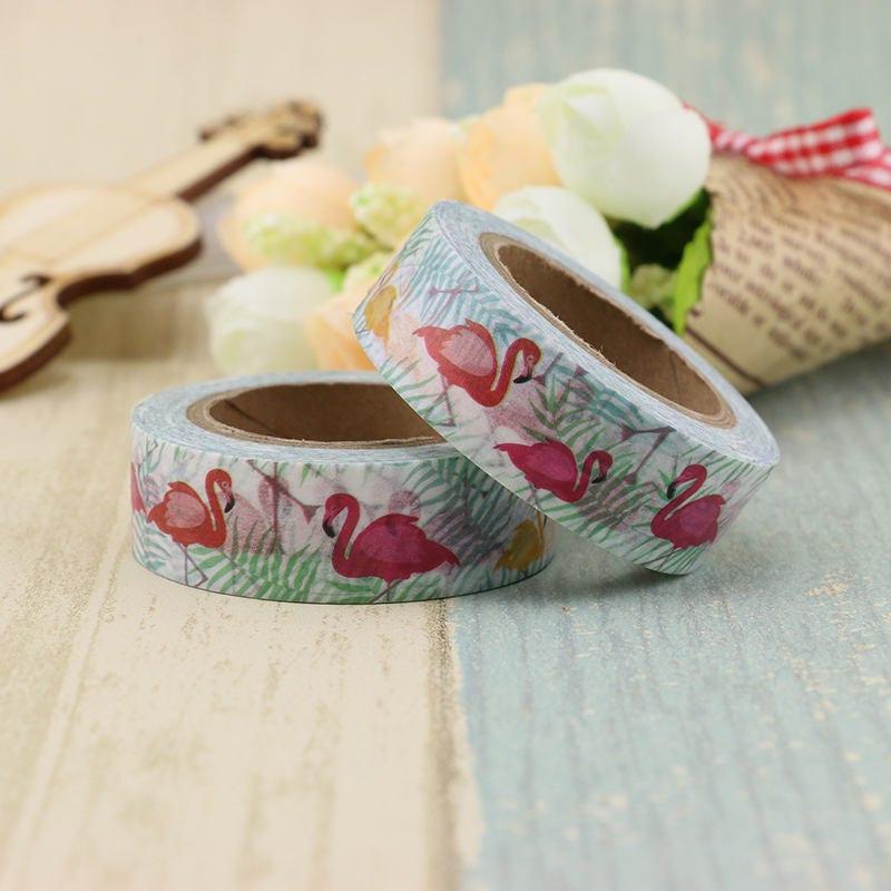 Flamants roses joli washi tape flamingo d coratif masking tape - Masking tape traduction ...