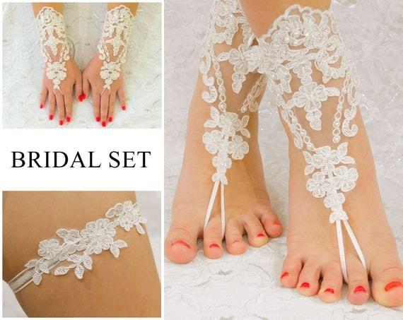 Bridal Set, Lace Gloves Fingerless, Beach Wedding Barefoot Sandals, Bridal Garter, MarrietDress 04