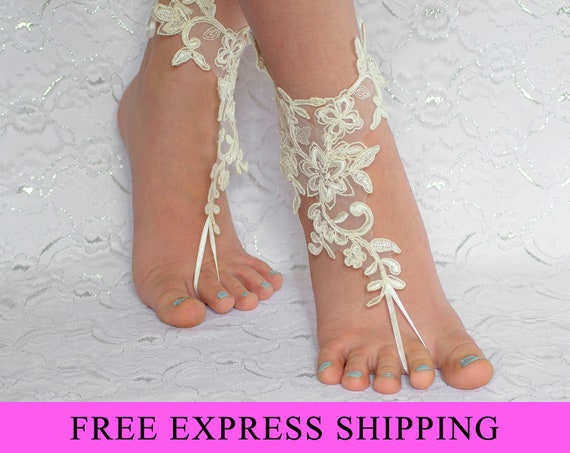 Barefoot Sandals Beach Wedding Shoes, bridal accessories, barefoot sandles, lace barefoot sandals 07