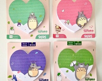 Totoro cute kawaii kitsch post it sticky notes heart shaped pad