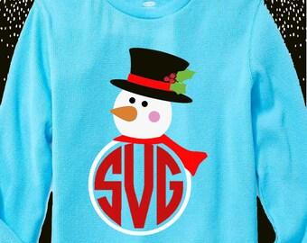 Snowman svg, snowman monogram svg, snowman iron on, printable, SVG, DXF, EPS, cut file, santa hat svg, snowman, cricut, silhouette