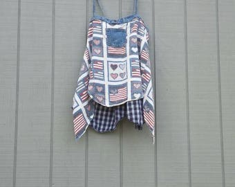 Americana,Fourth of July,patriotic,upcycle,repurposed clothing,summer top,tunic,red,white,blue,tank top,denim,artsy clothing,boho, clothing