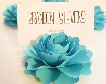 """Aqua Place Card Holders 
