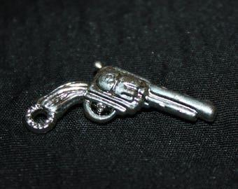 Vintage Plastic Silver TOY GUN Charm Cracker Jack Toy Prize