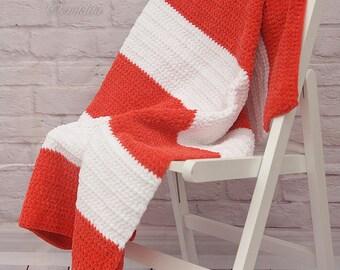 Crochet afgan blanket, baby blanket, white and orange blanket