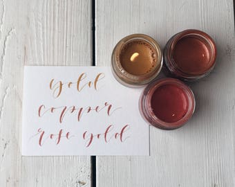 Metallic Ink Trio. Gold, Rose Gold and Copper Coloured Ink. Modern Calligraphy Inks. Handmade Inks. Ink Gift Set.