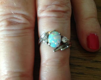 Sterling Silver Opal and CZ Ring