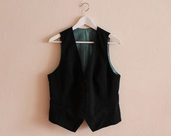 Black Vest Black Women Vest Black Women's Vest Women Steampunk Vest Fitted Waistcoat Large Size