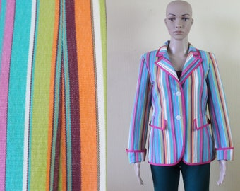 Colorfull Stripped Blazer Women's Stripped Jacket Vintage 80's Multicolor Blazer Summer Jacket Cotton Blazer Padded Shoulder Medium Size
