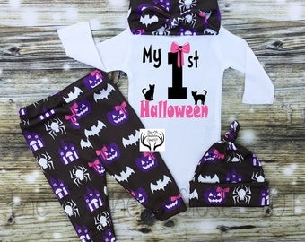 Baby Girl Halloween Outfit,Girl Coming Home Outfit,Custom Name,1st Halloween,Baby Halloween Outfit,Spiders,Baby Halloween Girl