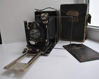 FOTOKOR-1 9x12cm Soviet USSR Folding Plate Camera + cassette