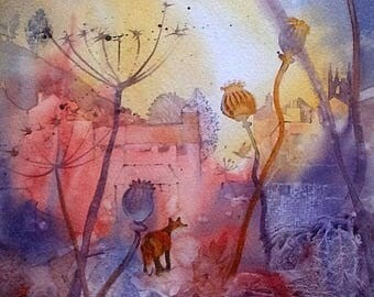 Into the Village original watercolour by Shari Hills